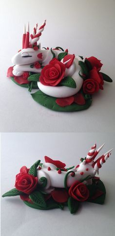 Bed of Roses Dragon by KaijuClayCreations #dragon #claydragon #polymerclay