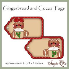 Gingerbread and Cocoa Tags - CU Digital Printables - Immediate Download (You can purchase)