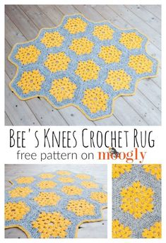 Bee's Knees Crochet Rug - free crochet pattern on Mooglyblog.com! #tonal #homedecor #diy #crochet #crochetpattern #hexagons #boho #pantone2021 Crochet Rug Patterns, Crochet Motifs, Crochet Designs, Crochet Yarn, Crochet Flowers, Free Crochet, Blanket Crochet, Crochet Bee, Irish Crochet