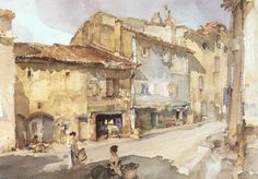 William Russell Flint (Scottish, 1880-1969) The Street with the Sundial