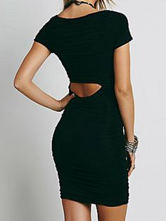 Black Wrap V Neck Cut Out Waist Ruched Bodycon Dress | Choies