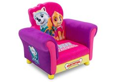 Delta Children PAW Patrol - Skye & Everest - Deluxe Upholstered Chair Right View a2a