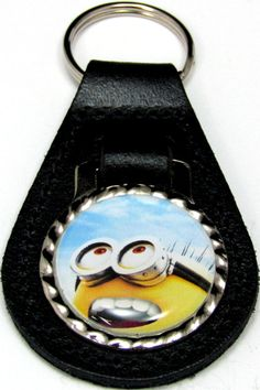 Minions Jerry Happy Sky Black Leather Key Fob Chain Steel Ring FOB-0243
