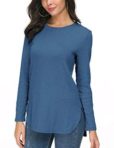 93cf08a0f6a60 Herou Women s Round Neck Loose Casual Long Sleeve Short Sleeve Side Split  Shirt Pullover Tunic Tops