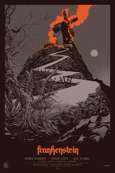 """2014 """"Frankenstein"""" - Silkscreen Movie Poster by Ken Taylor Horror Movie Posters, Best Movie Posters, Cinema Posters, Movie Poster Art, New Poster, Cool Posters, Horror Movies, Ken Taylor, The Frankenstein"""