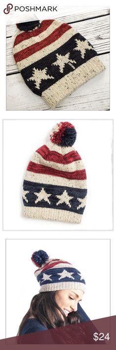 ✨Muk Luks Americana Pom Pom Beanie✨ ✨Muk Luks Americana Pom Pom Slouch Beanie✨Adorable Stars And Stripe Woven Knitted Beanie With Ribbed Trim And Pom Pom Topper✨100% Acrylic✨One Size✨NWT✨ Muk Luks Accessories Hats