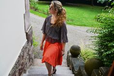 Orange relaxed skirt