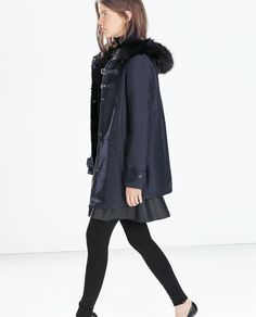 Image 3 of FAUX FUR HOODED DUFFLE COAT WITH TOGGLES from Zara