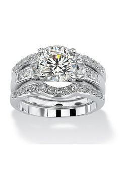 PalmBeach Jewelry 2.95 TCW CZ Platinum Plated Sterling Silver 3-Piece Bridal Ring Set