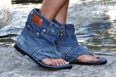 Dani.K Women's Classic Jeans Sandal Boot 100% Cotton Blue Wash - Euro 39 (Us 8.5)