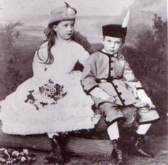 Gisela, nee Archduchess of Austria,daughter of Emperor Franz Josef and Empress Elisabeth, and Princess of Bavaria by marriage, with her younger brother the ill-fated Crown Prince Rudolf.