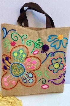 Jute Tote Bags, Beach Tote Bags, Reusable Tote Bags, Broderie Simple, Embroidery Bags, Polka Dot Fabric, Patchwork Bags, Handmade Bags, Burlap
