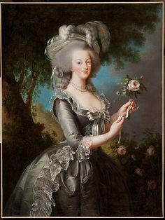 """""""Marie Antoinette w/ a Rose"""" -- 1783 -- Élisabeth Louise Vigée Le Brun -- French -- Oil on canvas -- The Metropolitan Museum of Art."""