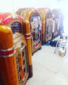 A collection of rare #jukeboxes in the process of being French polished today in the showroom.