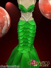 """CHARISMATICO Green Satin """"Scaled"""" Shell Bra and Mermaid Tail Showgirl Burlesque"""