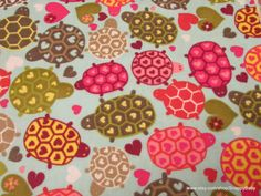 Flannel Fabric  Turtles Hearts  1 yard  100% Cotton by SnappyBaby