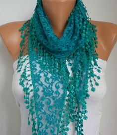 ON SALE Teal Lace Scarf Shawl Scarf Women Scarves Cowl by anils, $14.40