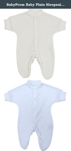 BabyPrem Baby Plain Sleepsuit Footie Sleeper Preemie Clothes 0-7.5lb WHITE P2. Single preemie sleepsuit with popper fasteners all down the front and legs to make dressing your baby easier.This is a quality garment made from 100% Cotton, machine washable at 40 degrees and manufactured in our own factory in the UK. All orders received before 12pm Mon to Fri are despatched the same day (except Bank Holidays). Available in sizes Prem 0 (upto 1.5lb) Length 30cm, Chest 14cm, Prem 1...