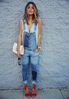 love the jean on jean with red accent. love the sleeveless under an overall look.