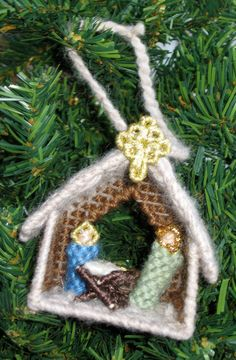Mini Nativity Plastic Canvas Ornament. $3.00, via Etsy.