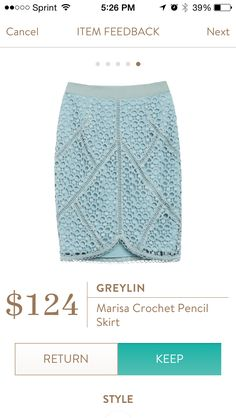 Marisa Crochet Detail Pencil Skirt by Greylin. This is a blue color. This skirt is a heavy crochet layer over a heavy solid layer. Seems more like a winter skirt than summer skirt. Will love in in cooler weather. Like the tulip hem in front. This is a color I do not have in my closet and a different look. Received in Fix #33. KEPT. Price $124, with keep all discount $93. Found price match which was approved, only paid $15.96 for this skirt.