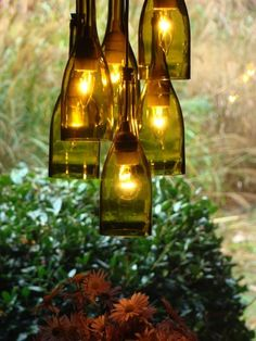#DIY wine bottle chandelier