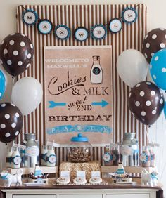Love the cookies and milk theme! Great ideas and resources for planning kids birthday parties, maybe in pink and brown