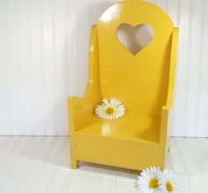 Sunny Yellow Wooden Chair - Vintage HandMade Child Size - Chippy Paint Doll Display - Happy Time Out Seat