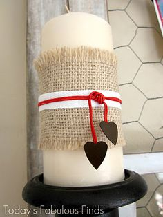 Or how about wrapped in burlap and add a bit of white lace and/or a felt flower or two...