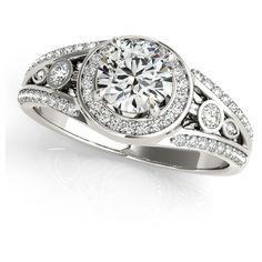 Angara Heart Encrusted Black Diamond Infinity Knot Ring in White Gold yMrgB