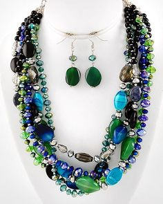 "Silver Tone / Blue & Green Semi-precious Stone / Blue & Green Glass Crystals / Multi Strand Necklace & Fish Hook Earring Set  •   Style No : 318749  •   Length : 18"" + EXT  •   Pendant : 2 1/2"" L  •   Earring : 2 1/8"" L Very nice, real gem stones. $49.95"