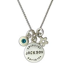 Memorial Disc Necklace with Two Dates and Birthstone