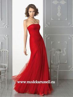 Tüll Abendkleid Online in Rot
