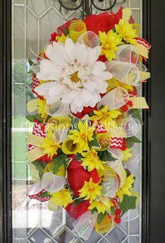 Summer Wreath, Summer Door Swag, Floral Wreath, Whimsical Wreath, Front door swag, Door Hanger, Wreath for door by OccasionsBoutique on Etsy