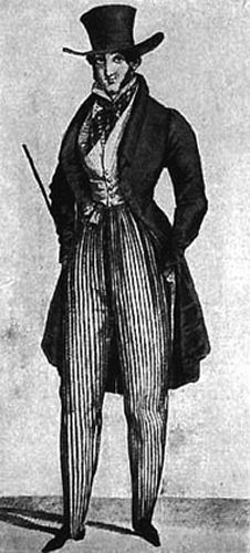 This image represents this period because the man is wearing a top hat, waistcoat, and a cravat.Also he is wearing pantaloons and they have a instep strap on the bottom of the pant.In addition he is wearing a frock coat. Romantic Men, Romantic Period, 1800s Fashion, Mens Fashion, Cool Coats, Late Middle Ages, Victorian Costume, Men's Day, Period Costumes