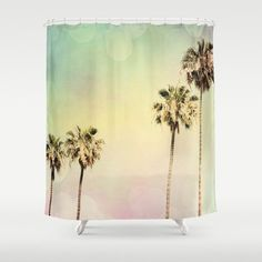 Art Shower Curtain Palm Trees 2 fine art photography Beach House home decor pastel colors pink mint green aqua blue yellow California Modern