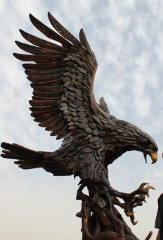 ingredients,,,by:shorsh ahi Driftwood Sculpture, Driftwood Art, Abstract Sculpture, Sculpture Art, Eagle Images, Eagle Pictures, Animal Statues, Animal Sculptures, Tree Carving