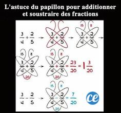 7 Math Hacks That Will Change Your Lives! Butterfly method for adding and subtracting fractionsButterfly method for fractions - keeping for later this year to help Hobbit.Butterfly method for adding or subtracting fractions. This may belong on a cook Adding And Subtracting Fractions, Math Fractions, How To Add Fractions, Simple Math, Basic Math, Math Skills, Math Lessons, Math Tips, Maths Tricks