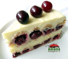 Tort cu visine sau cirese (Tort cu visine 01) imagine reteta Cheesecake, Pudding, Cooking, Desserts, Food, Sweets, Kitchen, Tailgate Desserts, Deserts