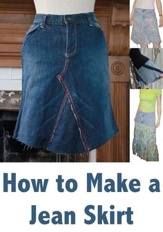 How To Make A Jean Skirt - Recycled Denim DIY Tutorial