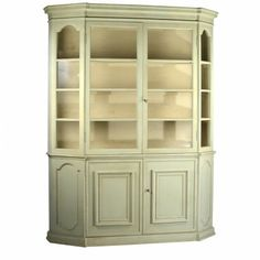 Perfect for showcasing wedding china and heirloom serveware, this cabinet features 2 glass doors, 4 shelves, and a lower cabinet. A light green finish gives this design fresh, warmly weathered appeal. China Cabinets And Hutches, Accent Chests And Cabinets, Low Cabinet, Tall Cabinet Storage, Dining Room Hutch, Family Room, Shabby Chic, New Homes, Shelves