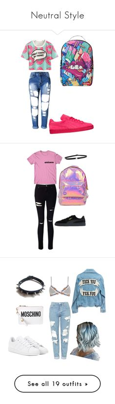 Neutral Style by rihababy on Polyvore featuring Puma, Sprayground, Shay, Miss Selfridge, Moschino, Topshop, adidas, WithChic, MANGO and Converse