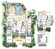 House Plan: 2 Story Waterfront Mansion Floor Plan w/Pool Mar-A-Lago Home Plan, luxury Mediterranean home plan wi Tuscan House Plans, Luxury House Plans, Dream House Plans, House Floor Plans, Luxury Houses, The Plan, How To Plan, Luxury Mediterranean Homes, Mediterranean House Plans