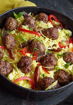 A no-fuss, delicious and different spin on meat-with-carbs, Rosbottom's Middle Eastern-spiced dish starts with petite meatballs made from ground lamb and seasoned with Moroccan spices.