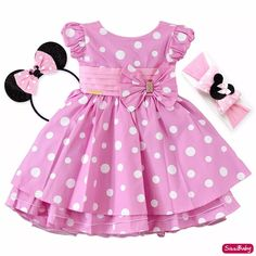 Vestido Infantil Festa Minnie Rosa Luxo Com Tiara E Faixa - R$ 120,00 em Mercado Livre Little Dresses, Little Girl Dresses, Girls Dresses, Toddler Dress, Toddler Outfits, Kids Outfits, Homecoming Dresses High Low, High Low Cocktail Dress, Baby Frocks Designs