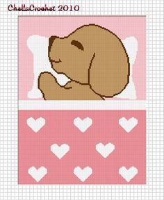 Chella Crochet Sleeping Puppy Dog Pink Hearts by chellacrochet, $3.50
