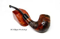 BRIAR Smoking pipe Sherlock/Tobacco pipe #15/Handmade carved and rusticated pipe/Pfeife/Briar wood pipe/Gift for Groom/Pipa/Pipe for smoking by KAFpipeWorkshop on Etsy