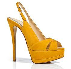 Giuseppe Zanotti | yellow suede platform peep toe slingback pumps heels shoes