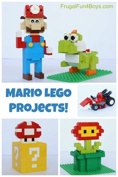 Mario LEGO Projects with Building Instructions – Frugal Fun For Boys and Girls Mario LEGO Projects with Building Instructions! Mario, Yoshi, Mario Kart, question box with mushroom, fireballs flower. Manual Lego, Legos, Lego Mario, Lego Super Mario, Instructions Lego, Retro Game, Lego Machines, Mario Bros, Mario Kart