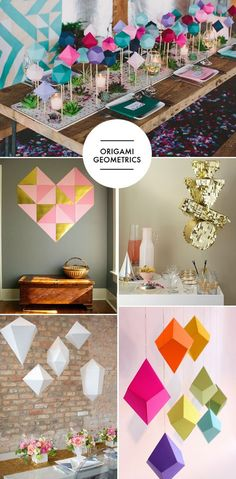I've been spotting geometric origami projects left and right and there's no better place to use them than in a modern wedding reception. Try a bunch of them as centerpieces for a a table, or hanging overhead…